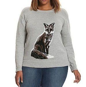 LANE BRYANT Gray Fox Intarsia Sweater 18/20
